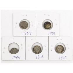Lot (5) Canada Silver 1901, 1904, 1906, 1907, 1908