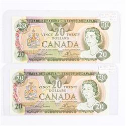 Bank of Canada 1979- 2 Consecutive 20.00 'Lawson-B