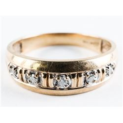 Estate 10kt Gold Ring 5 Diamond Band, Size 11