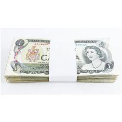 Bundle Bank of CANADA (100) 1.00 Notes, Mixed.