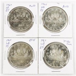 Lot (4) Canada Silver Dollars 1965 4 Types