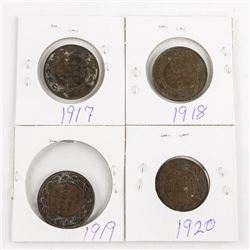 Lot (4) King George Large 1 Cent.