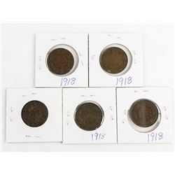 Lot (5) King George Large 1 Cent: 1918