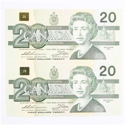 Bank of Canada 1991 - 2 Consecutive 20.00 (AIX) 'N