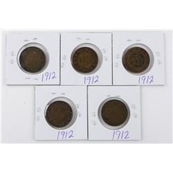 Lot (5) 1912 Canada Large 1 Cent Coins