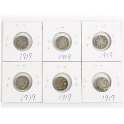Lot (6) Canada Silver 1919 10 Cents