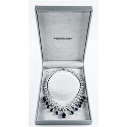 925 Silver Fancy Custom Necklace, over 200ct Swaro