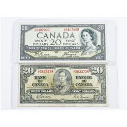 Lot (2) Bank of CANADA 20.00 1937 and 1954 Devil's