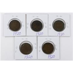 Lot (5) George Canada Large 1920 1 Cent