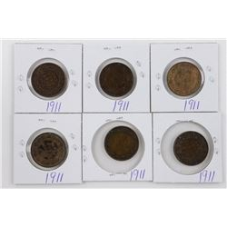 Lot (6) George Canada Large 1911 1 Cent