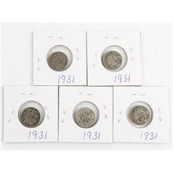 Lot (5) Canada Silver 1931 10 Cents