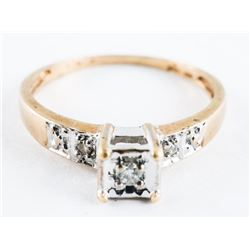 Estate 10kt Gold Ring Size 7 - 5 Diamonds.