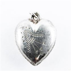 Estate 925 Silver Puffed Heart Pendant Etched