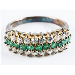 Estate 925 Silver Ring Size 8, Emerald Green and C