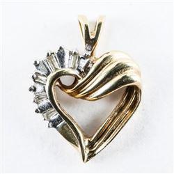 10kt Gold Diamond Heart Pendant