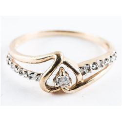 Estate 10kt Gold Ring size 7 1/4 Diamond Set Heart