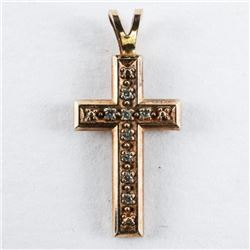 10kt Gold Diamond Cross Pendant