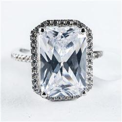 925 Silver Ring, Rectangular Cut Swarovski Element