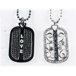 Lot (2) MM Love Legions Dog Tags, Set with Swarovs
