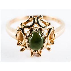 Estate 10kt Gold Ring Size 6 1/4 - Cabochon Emeral
