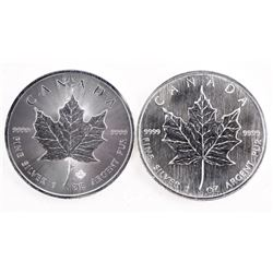Lot (2) .9999 Fine Silver Maple Leafs 2006 and 201