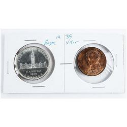 Pair 1939 Canada Silver Dollar with Royal Visit Me
