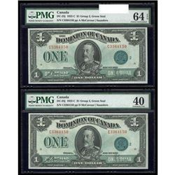 1923 $1 Matched Serial Number Set. McCavour-Saunders, Green Seal, Group 2, Series C. PMG CUNC-64.