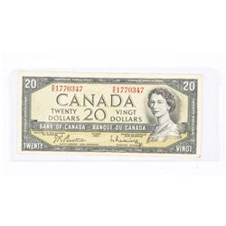 Bank of CANADA 1954 $20.00 Note. Modified Portrait