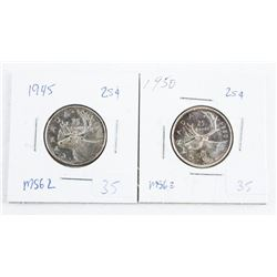 Lot (2) Canada Silver 25 Cent 1945 and 1950 (IR)
