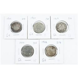 Group of (5) CANADA Silver 25 Cent: 1900, 1902, 19