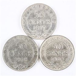 Group (3) NFLD 925 Silver 50 Cent: 1908, 1917, 191