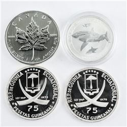 Group of (4) .9999 Fine Silver Coins Collector Bul