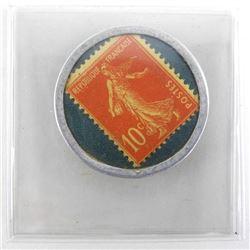 Timbre Monnaie Credit Lyonnais 1920 Coin/Stamp