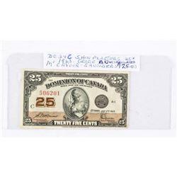 1923 Dominion of Canada 25 Cent Note. UNC (2) (SME