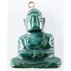 Estate 18kt Gold Jade Hand Carved Buddha Pendant