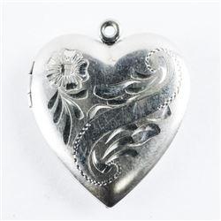 Estate 925 Silver Heart Locket Etched