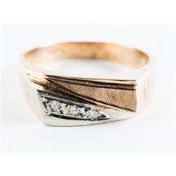 Estate 10kt Gold 3 Diamond Ring Size 10