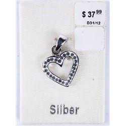 Estate Sterling Silver Heart Pendant with Swarovsk