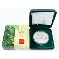 2003 1oz Fine Silver Maple Leaf Coloured Coin