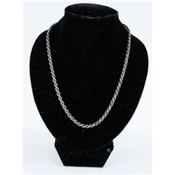 Estate 925 Silver Rope Style Necklace 15 grams - 1