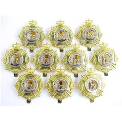 Lot (10) S. Sask, Regt. Queens Crown Cap Badges