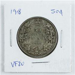 Canada 1918 Silver 50 Cent VF20 (ER)