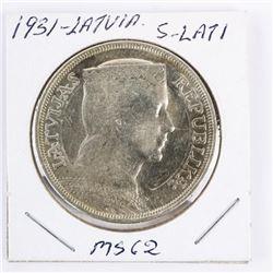 1931 Latvia 5 Lati MS62 (MXR)