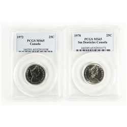 Lot (2) CAD 1972 and 1975 25 Cent PCGS. MS65.(ER)