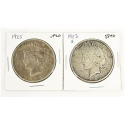 Lot (2) USA Silver Dollars 1923(S) and 1925