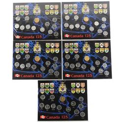 Lot (5) Canada 25 Cent Coin Displays