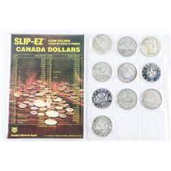 Collection (10) Canada Silver Dollar Coins - Inclu