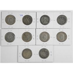 Lot (10) USA and Canada Silver 50 Cent - Mixed Dat