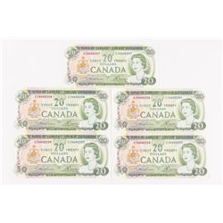 Bank of Canada 1969 20.00 Set (5) Notes in Sequenc