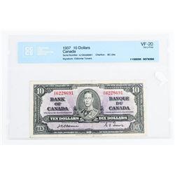 1937 Bank of Canada 10.00 VF-20. CCCS. Osborne-Tow